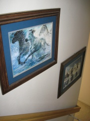 Horses Stampede Painting on Stairs Wall - Cuadro Estampida de Caballos en la Pared de las Escaleras