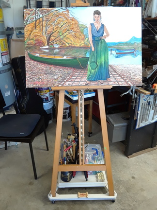 Easel with painting - Caballete con pintura