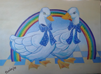 Ducks With Rainbow (Patos Con Arcoíris)
