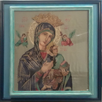 Framing of Virgen Mary With Baby Jesus Stitched Artwork - Enmarcado de la Obra Artística Cosida de Virgen María Con Bebé Jesús